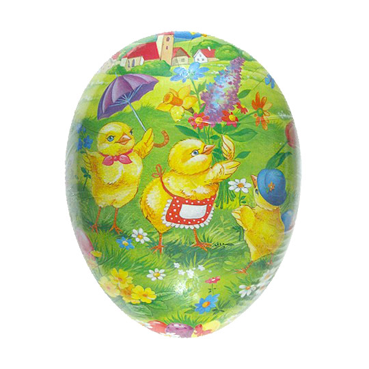 "3-1/2"" Chicks Gathering Flowers Paper Mache Easter Egg Container ~ Germany"