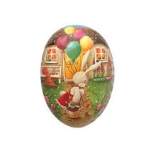 "4-1/2"" Bunny with Balloons Papier Mache Egg Container ~ Germany"