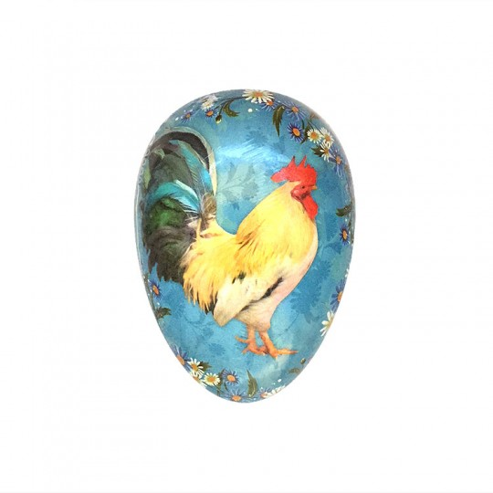"3-1/2"" Rooster on Blue Papier Mache Easter Egg Container ~ Germany"