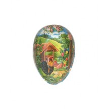 "3-1/2"" Country Roosters Papier Mache Easter Egg Container ~ Germany"