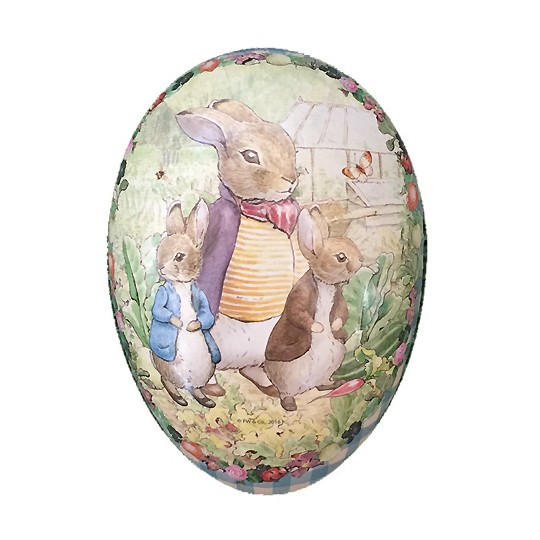 "6"" Peter Rabbit Bunny Trio with Gingham Border Papier Mache Easter Egg Container ~ Germany"