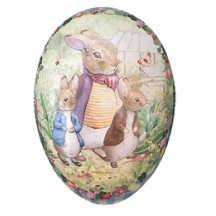 "7"" Peter Rabbit Bunny Trio with Gingham Border Papier Mache Easter Egg Container ~ Germany"