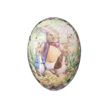 "4-1/2"" Peter Rabbit Bunny Trio with Gingham Border Papier Mache Easter Egg Container ~ Germany"