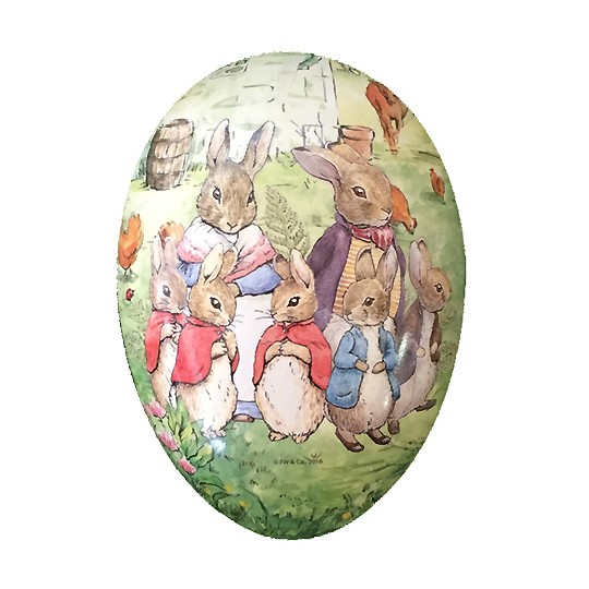 "6"" Peter Rabbit Bunny Family Papier Mache Easter Egg Container ~ Germany"