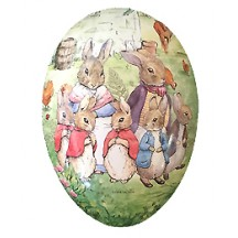 "7"" Peter Rabbit Bunny Family Papier Mache Easter Egg Container ~ Germany"