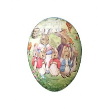 "4-1/2"" Peter Rabbit Bunny Family Papier Mache Easter Egg Container ~ Germany"
