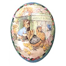 "7"" Peter Rabbit Ginger and Pickles Papier Mache Easter Egg Container ~ Germany"