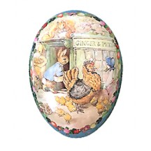 "6"" Peter Rabbit Ginger and Pickles Papier Mache Easter Egg Container ~ Germany"