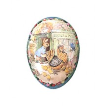 "4-1/2"" Peter Rabbit Ginger and Pickles Papier Mache Easter Egg Container ~ Germany"