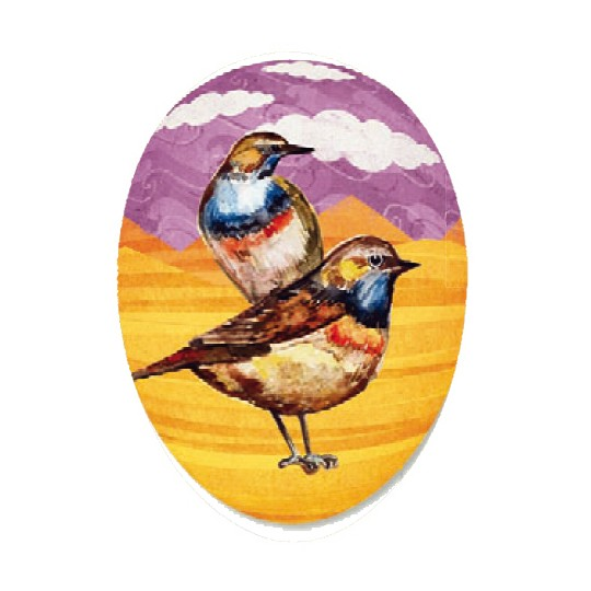 "6"" Colorful Robins Papier Mache Easter Egg Container ~ Germany"