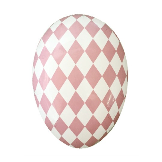 "6"" Pink and White Harlequin Pattern Papier Mache Egg Container ~ Germany"