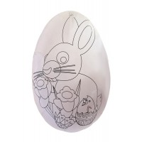 "6"" DIY White Easter Egg Container with Bunny ~ Sweden"