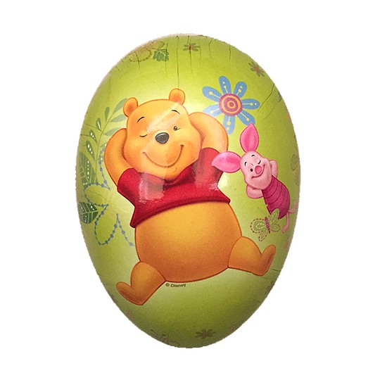 "4-1/2"" Winnie the Pooh and Piglet Green Papier Mache Easter Egg Container ~ Germany"