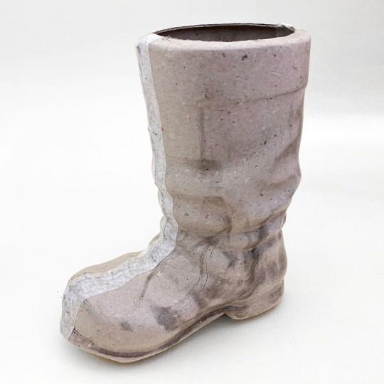 "Large 6"" Unfinished Papier Mache Santa Boot"