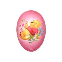 "4-1/2"" Winnie the Pooh and Piglet Pink Papier Mache Easter Egg Container ~ Germany"