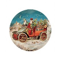 Small Two Santas by Motorcar Papier Mache Ball Box Ornament