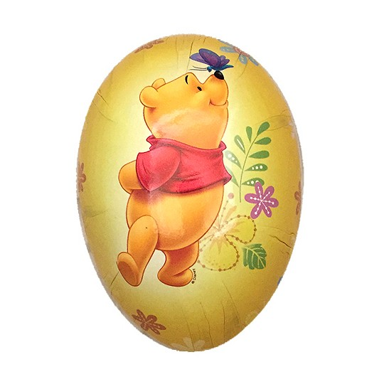 "4-1/2"" Winnie the Pooh Yellow Papier Mache Easter Egg Container ~ Germany"