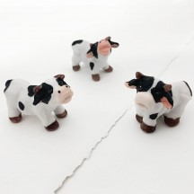 Small Mooing Cows Bisque Miniatures ~ Set of 3