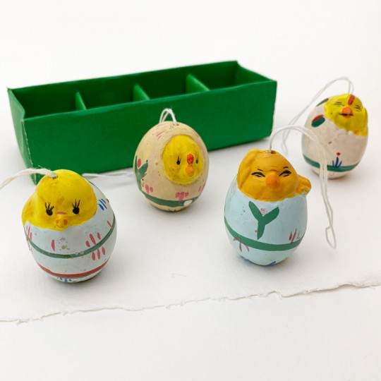 4 Folkloric Rustic Pottery Chicks in Eggs Handpainted Ornaments ~  Sweden
