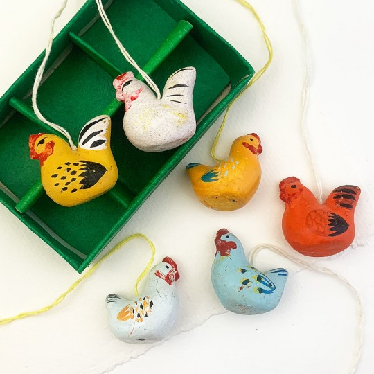 6 Folkloric Pottery Hens Handpainted Ornaments ~ Sweden