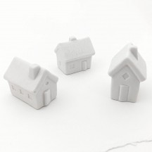 3 Small Houses White Pottery Miniatures  ~ Set of 3