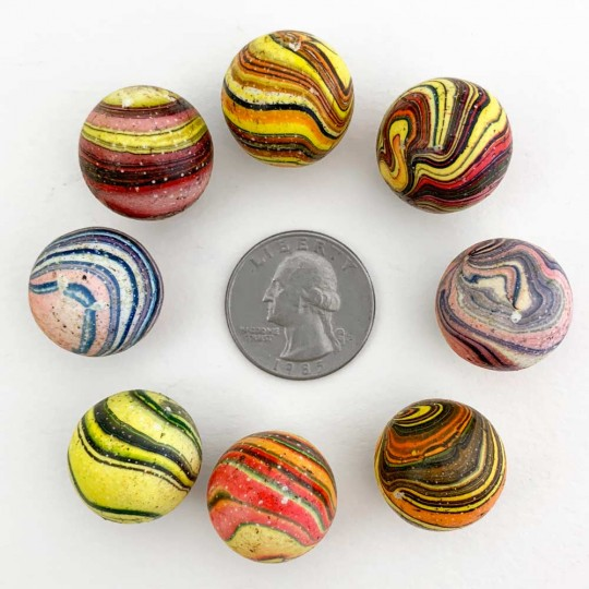 Marbled Marbles from Italy ~ Set of 8