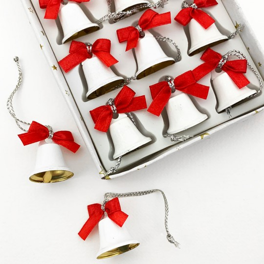 Retro White Miniature Metal Christmas Bells with Bows ~ Set of 12 Ornaments