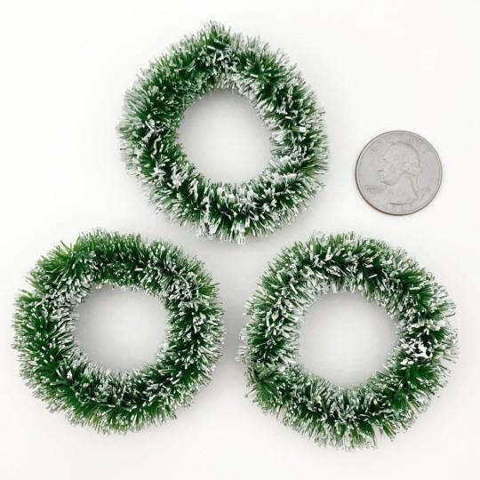"""Bottle Brush Christmas Wreaths ~ Set of 3 ~ 2"""" across ~ Medium Green"""