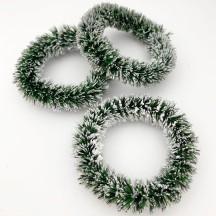 """Bottle Brush Christmas Wreaths ~ Set of 3 ~ 2"""" across ~ Dark Green"""
