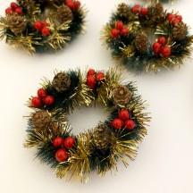 """Retro Bottle Brush Christmas Mini Wreaths ~ Set of 2 ~ 2-1/2"""" across"""