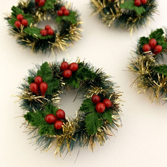 """Retro Bottle Brush Christmas Mini Wreaths with Leaves and Berries~ Set of 2 ~ 2"""" across"""