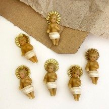"""Small Wax Baby Jesus with Gold Halo ~ 1-1/2"""" tall ~ Old Stock"""