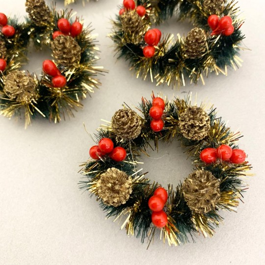 "Retro Bottle Brush Christmas Mini Wreaths ~ Set of 2 ~ 2-1/2"" across"