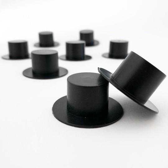 """8 XL Plastic Black Top Hats ~ 3/4"""" tall x 1-5/8"""" across brim ~ Matte Black"""