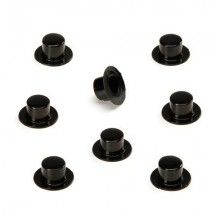 "12 Small Plastic Top Hats ~ 3/8"" tall x 3/4"" across brim"