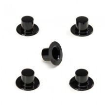 "12 Medium Plastic Top Hats ~1/2"" tall x 7/8"" across brim"