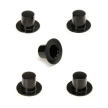 "12 Large Plastic Top Hats ~3/4"" tall x 1-1/8"" across brim"