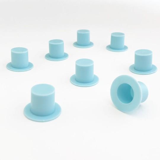 """8 Medium Plastic Top Hats ~ 5/8"""" tall x 7/8"""" across brim ~ Light Blue"""