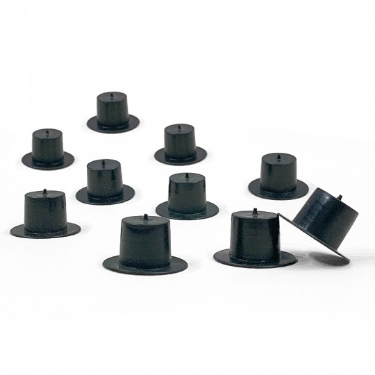 "10 Medium Plastic Top Hats ~1/2"" tall x 7/8"" across brim ~ Matte Black"