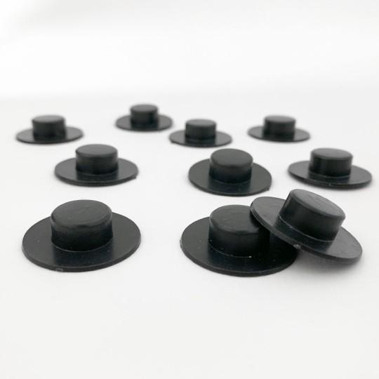 """10 Medium Plastic Black Hats ~ 1/4"""" tall x 1-1/8"""" across brim ~ Matte Black"""