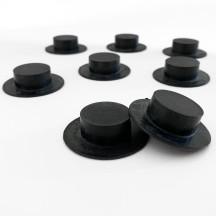 "8 Large Plastic Black Hats ~ 3/8"" tall x 1-1/2"" across brim ~ Matte Black"