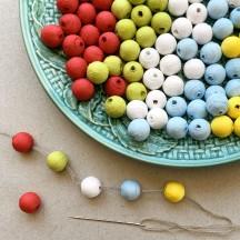 50 Spun Cotton Round Beads ~ Mixed Set 10mm