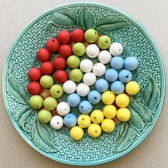 50 Spun Cotton Round Beads ~ Mixed Set 16mm