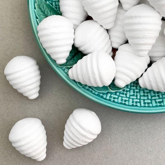 "Spun Cotton Pine Cones for Christmas Crafts ~1-1/2"" tall ~ 8 pcs"