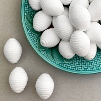 """Ribbed Spun Cotton Berries or Pine Cones for Christmas Crafts ~1-3/8"""" tall ~ 8 pcs"""
