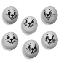 "6 Small Spun Cotton Bunny Heads in White 3/4"""