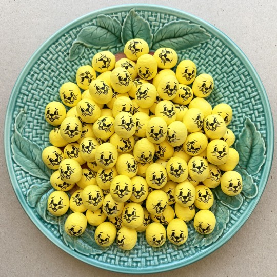 """6 Small Spun Cotton Bunny Heads in Yellow 3/4"""""""