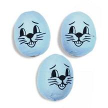 "3 Medium Spun Cotton Bunny Heads in Blue 1 1/4"""
