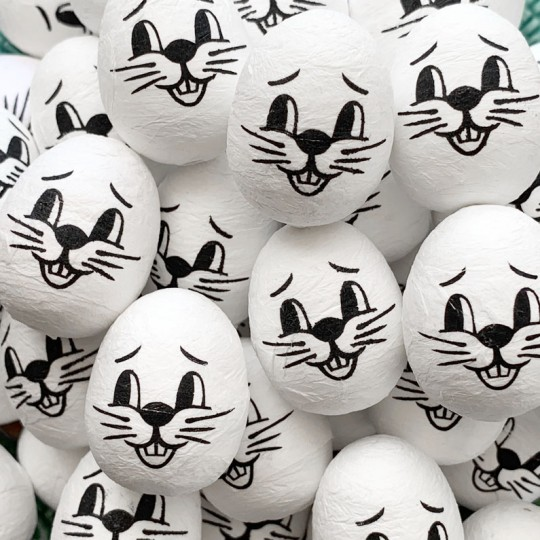 "3 Medium Spun Cotton Bunny Heads in White 1-1/4"""