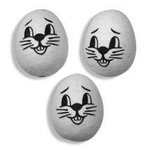 "3 Medium Spun Cotton Bunny Heads in White 1 1/4"""